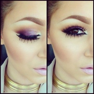 purple with pink lips